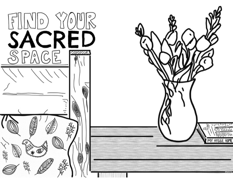 hygge coloring page for adults image